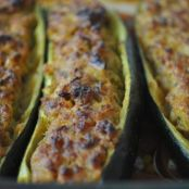 Zucchini stuffed with ground beef