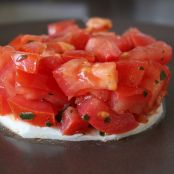 Tomato Basil Tartare on a Bed of Mozzarella