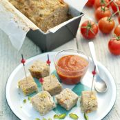 Veal meatloaf with tomato confit and pistachios