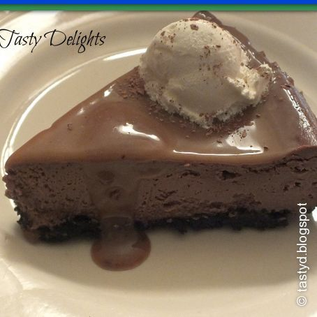 Triple Chocolate Cheesecake with Salted Burnt Caramel Sauce