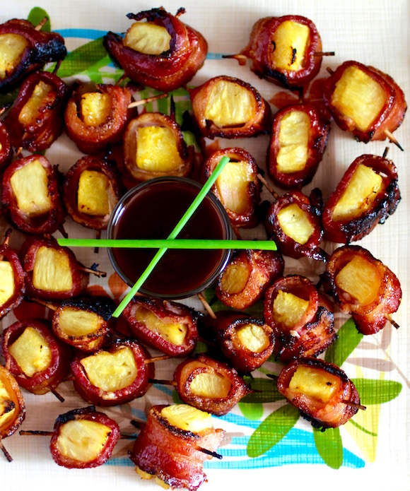 BBQ BAcon Wrapped Pineapple Chunks