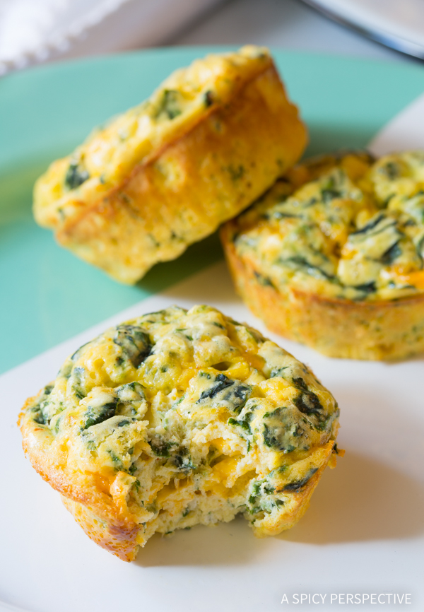 Spinach Scramble Egg Muffins - © A Spicy Perspective