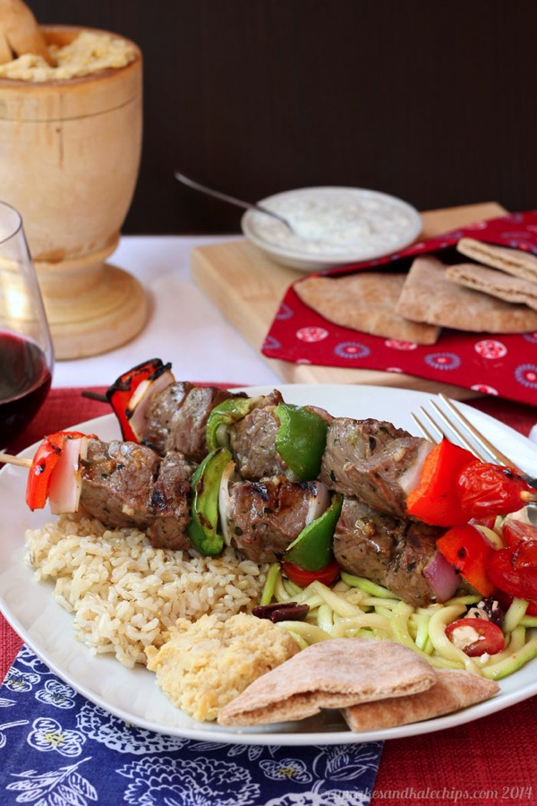 SOUVLAKI (Greek-Style Beef Kabobs) - © Cupcakes & Kale Chips
