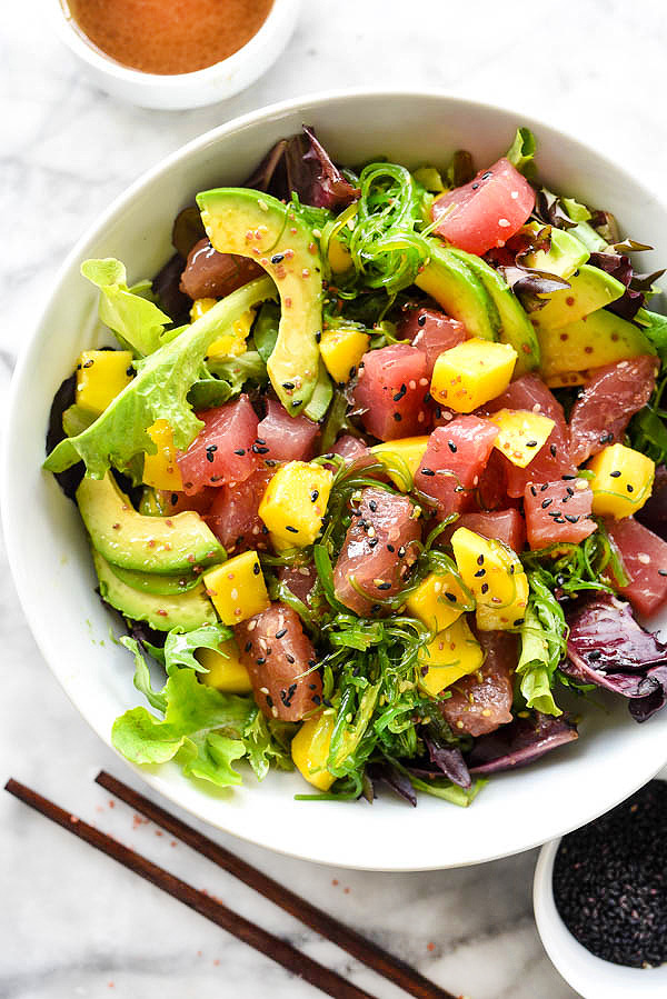 Ahi Tuna Poke and Mango Salad © Foddie Crush